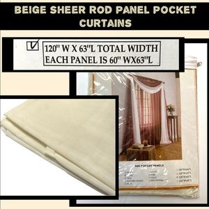 Brylane Home Sheer Voile Rod-Pocket Panel Pair